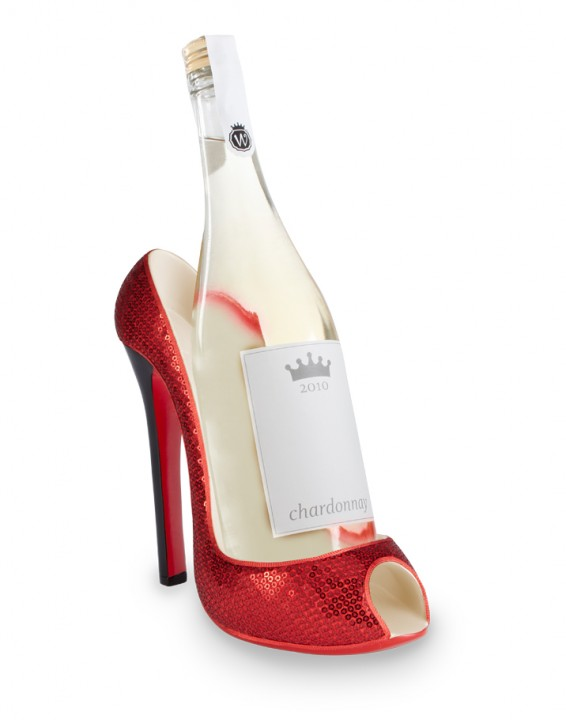 High Heel Wine Bottle Holder - Red Sequin-0