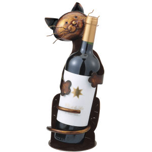 Metal Cat wine bottle holder-0